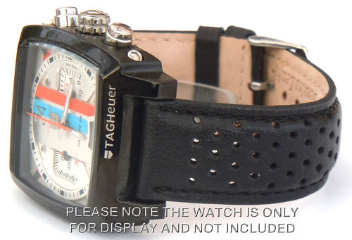 Rally Perforated BLACK stitched Black Leather Watch Strap For TAG Heuer Monaco