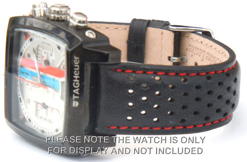 Rally Perforated RED Stitched Black Leather Watch Strap For TAG Heuer Monaco