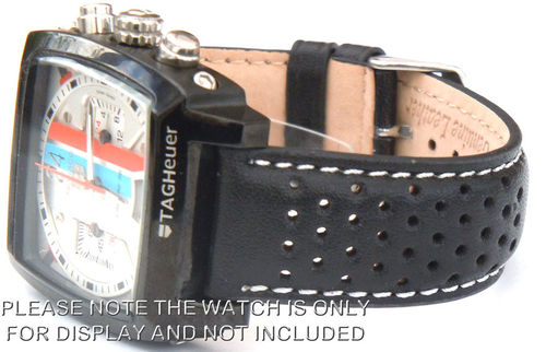 Rally Perforated WHITE stitched Black Leather Watch Strap For TAG Heuer Monaco