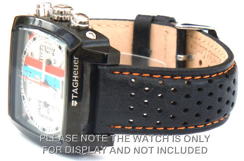 Rally Perforated ORANGE stitched Black Leather Watch Strap For TAG Heuer Monaco
