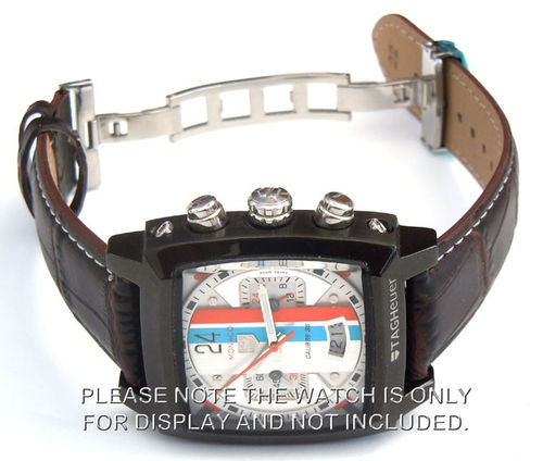 Classic Crocodile Grain Brown Crocodile Watch Strap Butterfly Deployant Clasp For Tag Heuer Monaco