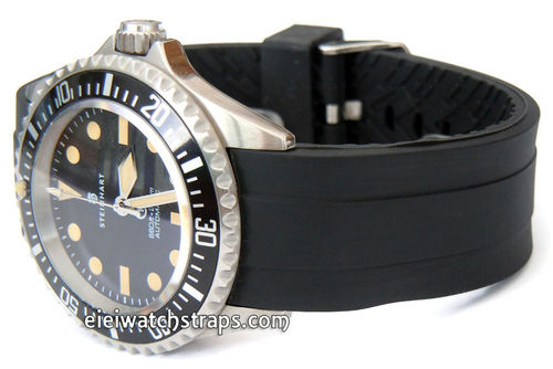 22mm Heavy Duty Marine II Silicon Rubber Divers Watchstrap with curved lugs For Steinhart Watches