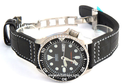 Aviator Hand Made 22mm Black Alligator watch strap on Deployment Clasp For Seiko Watches