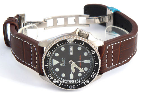 Aviator Hand Made 22mm Brown Alligator watch strap on Deployment Clasp For Seiko Watches