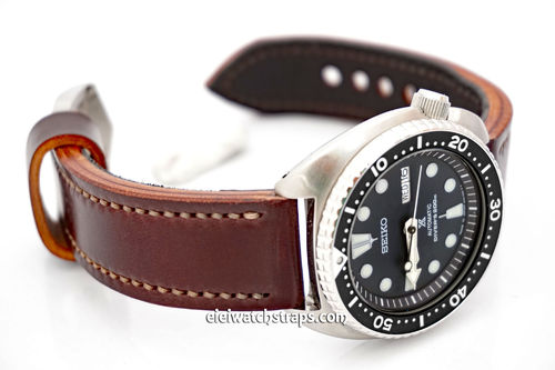 Hand Made Brown Horween Leather Watch Strap For Seiko Watches