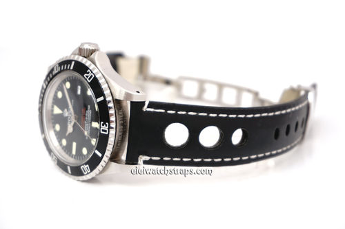 Grand Prix Black Leather Watch strap on Deployment Clasp For Rolex Watches