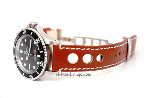 Grand Prix Brown Leather Watch strap on Deployment Clasp For Rolex Watches