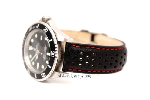 Grand Prix Black Leather Watch Strap with Genuine Rolex Tang Buckle