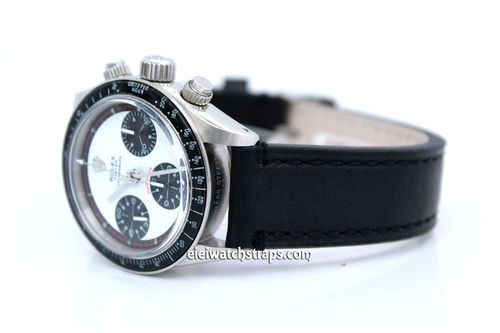 Hand Made Black Leather Watch Strap With Rolex Buckle