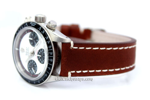 Hand Made Brown Leather Watch Strap With Rolex Buckle