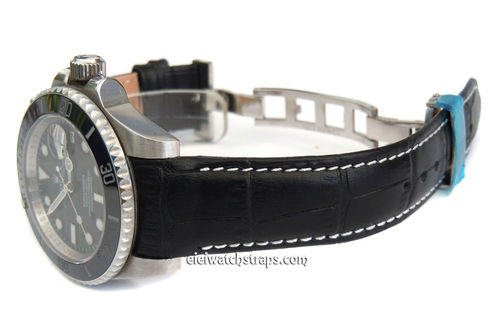 Black Crocodile Curved lug Ended Watch Strap on Deployment Clasp for Rolex Watches