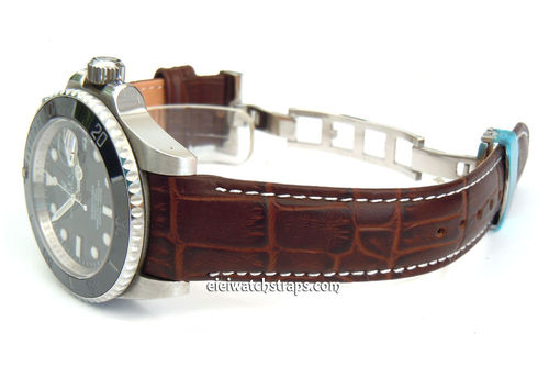 Brown Crocodile Curved lug Ended Watch Strap on Deployment Clasp for Rolex Watches