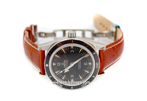 20mm Classic Light Brown Crocodile Grain Leather Watch Strap For Omega SeaMaster
