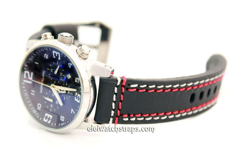 22mm Black Leather watchstrap Double Stitched For Montblanc Watches