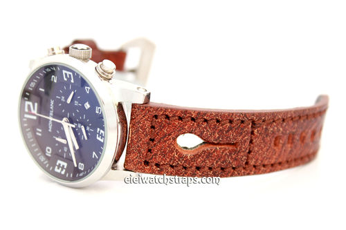 Double Thickness Cut Edge Brown Leather Watch Strap For Montblanc Watches