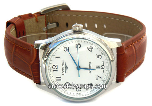 Classic Brown Crocodile Grain Leather Watch Strap For Longines Watches