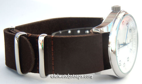 NATO Genuine Brown Leather Watch Strap For Longines Watches