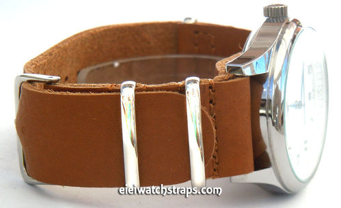 NATO Genuine Tan Leather Watch Strap For Longines Watches