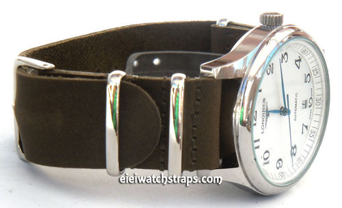 NATO Genuine Green Leather Watch Strap For Longines Watches