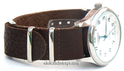 NATO Genuine Black Leather Watch Strap For Longines Watches