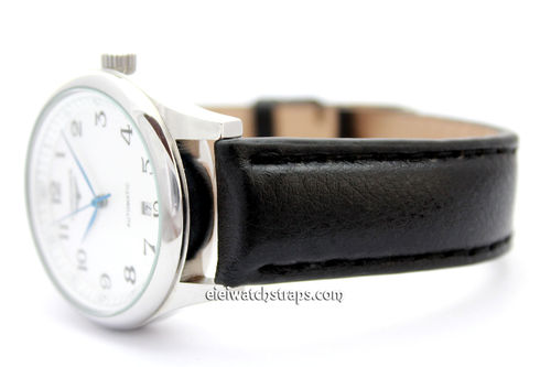 Black Leather Watch Strap For For Longines Watches
