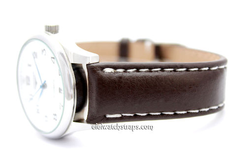 Brown Leather Watch Strap For For Longines Watches White Stitched