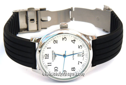20mm Silicon Rubber Watch strap with Stainless Steel Deployment For Longines Watches