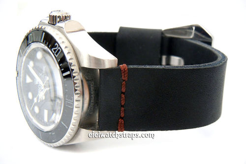 22mm Metta Oiled Black Leather Watch Strap For Rolex Watches