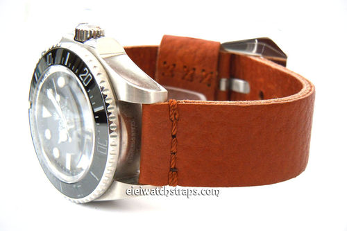 22mm Metta Oiled Tan Leather Watch Strap For Rolex Watches