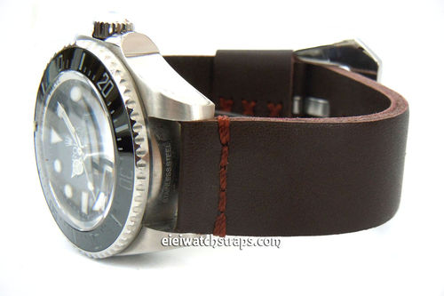 22mm Metta Oiled Brown Leather Watch Strap For Rolex Watches