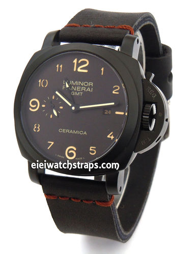 Metta Oiled Black Leather Watch Strap For Panerai Watches