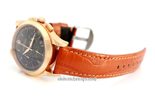 Brown 22mm Crocodile Grain Leather Watch Strap For Jaeger-LeCoultre Watches