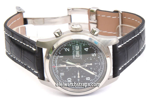Deployment Black Crocodile Leather Strap For Hamilton Watches