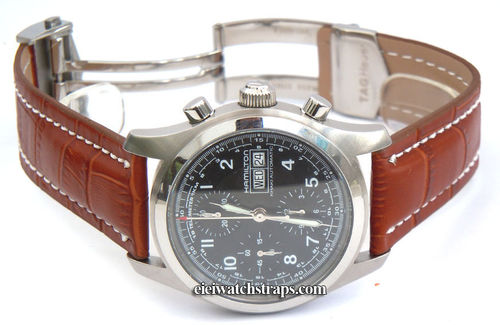 Deployment Brown 22mm Crocodile Leather Strap For Hamilton Watches