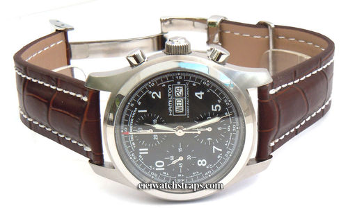 Deployment Brown Crocodile Leather Strap For Hamilton Watches