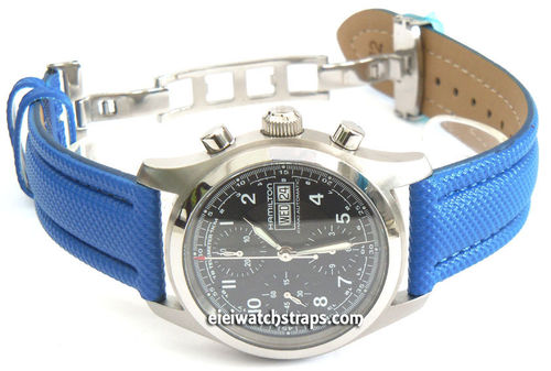 Blue Polyurethane Waterproof watch strap with Deployment Clasp for Hamilton