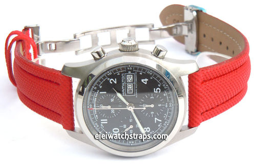 Red Polyurethane Waterproof watch strap with Deployment Clasp for Hamilton