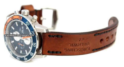 Brooklands Hand Made Vintage Style Ammo Leather Watch Strap For IWC Aquatimer