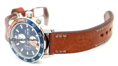 Zoss Hand Made Vintage Style Ammo Leather Watch Strap For IWC Aquatimer
