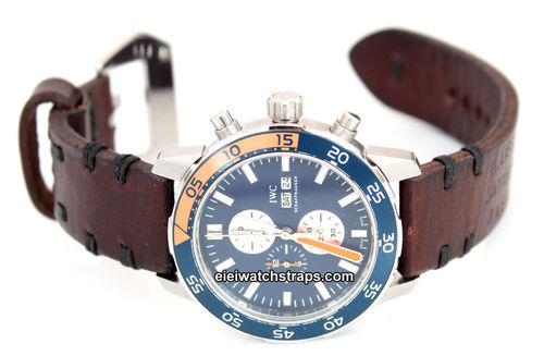 Basel Hand Made Vintage Style Ammo Leather Watch Strap For IWC Aquatimer