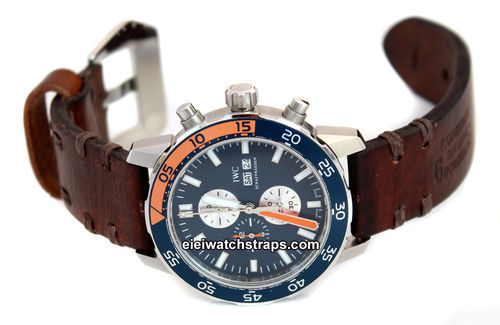 Don Hand Made Vintage Style Ammo Leather Watch Strap For IWC Aquatimer