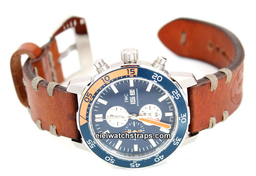 Kunz Hand Made Vintage Style Ammo Leather Watch Strap For IWC Aquatimer