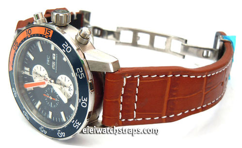 Aviator Hand Made 22mm Black Alligator watch strap on Deployment Clasp For IWC Aquatimer
