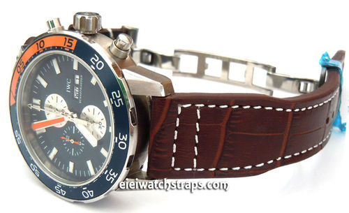 Aviator Hand Made 22mm Brown Alligator watch strap on Deployment Clasp For IWC Aquatimer