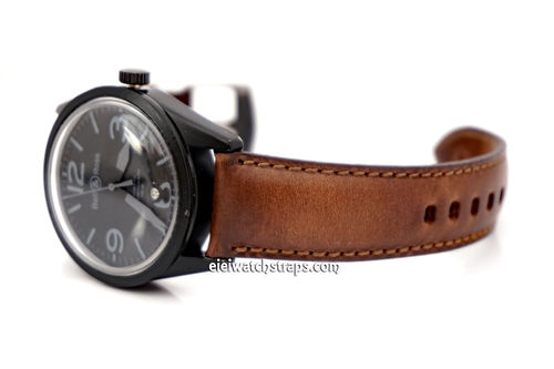 Handmade Rustic Brown Horween Leather Watch Strap For Bell & Ross Watches