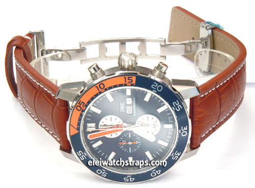 IWC Aquatimer Matt Brown Alligator Grain Padded Leather Watch Strap Butterfly Development Clasp