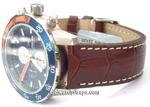 IWC Aquatimer Matt Dark Brown Alligator Grain Padded Leather Watch Strap