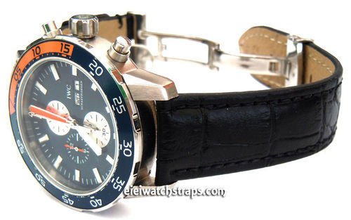 IWC Aquatimer Classic Black Crocodile Grain Leather Watch Strap on Deployment Clasp