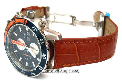 IWC Aquatimer Classic Brown Crocodile Grain Leather Watch Strap on Deployment Clasp