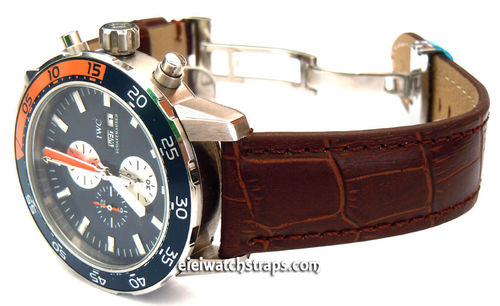 IWC Aquatimer Classic Dark Brown Crocodile Grain Leather Watch Strap on Deployment Clasp